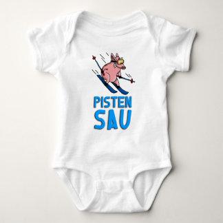 skiing pig baby bodysuit