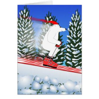 Skiing Polar Bear Card
