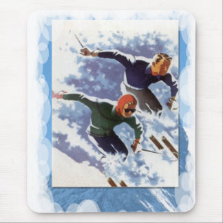 Skiing -Racing down the mountain Mouse Pad
