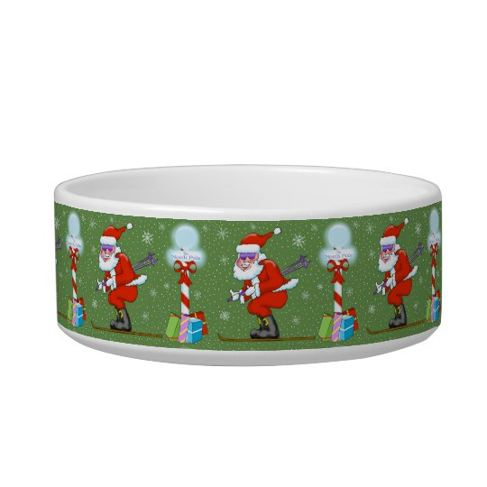 Skiing Santa at North Pole Pet Bowl