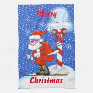 Skiing Santa Christmas Kitchen Towel