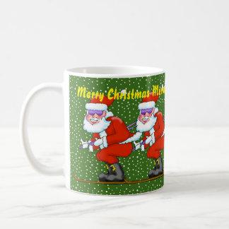 Skiing Santa Christmas Mug