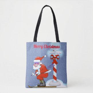 Skiing Santa Christmas Tote Bag