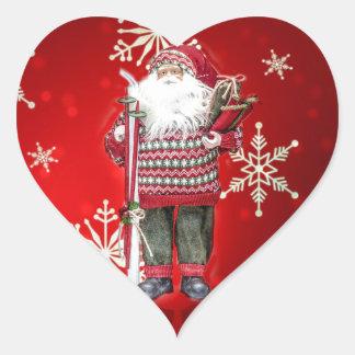 Skiing Santa Heart Sticker