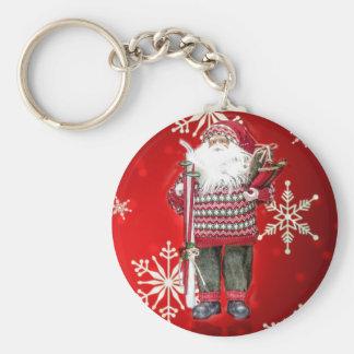 Skiing Santa Key Chain