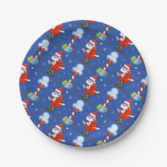 Skiing Santas Christmas Paper Plates