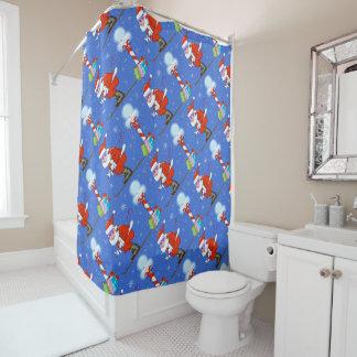 Skiing Santas Christmas Shower Curtain