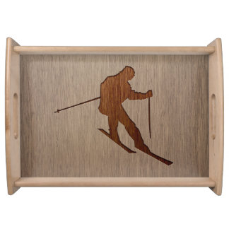 Skiing silhouette engraved on wood design serving tray