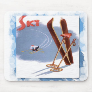 Skiing -Sis and skier Mouse Pad