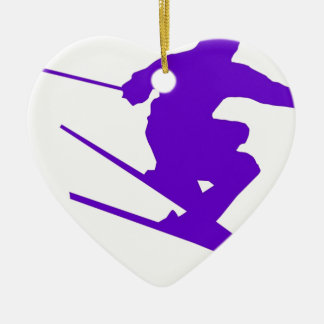 Skiing Sport Design Ceramic Heart Decoration