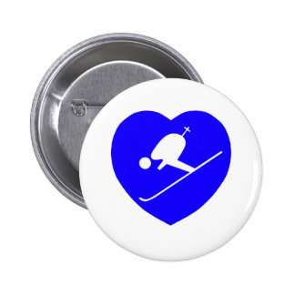 Skiing White on Blue Heart 200dpi 6 Cm Round Badge