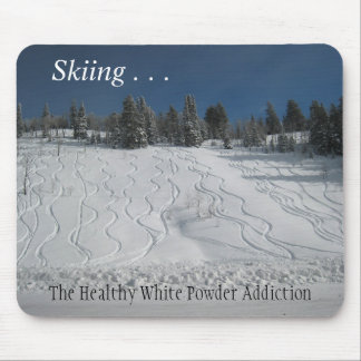 Skiing . . . white powder addiction mouse pad