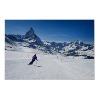 Skiing with Mt. Matterhorn in Zermatt, Switzerland Poster