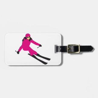 skiing woman luggage tag
