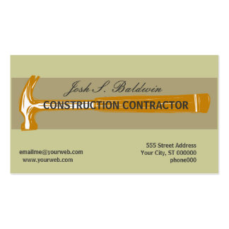 Skilled Trade Contractor Plain Business Card Template