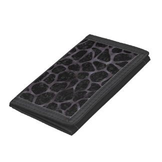 SKIN1 BLACK MARBLE & BLACK WATERCOLOR (R) TRI-FOLD WALLET
