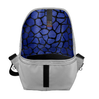SKIN1 BLACK MARBLE & BLUE BRUSHED METAL COURIER BAGS