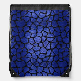 SKIN1 BLACK MARBLE & BLUE BRUSHED METAL DRAWSTRING BAG