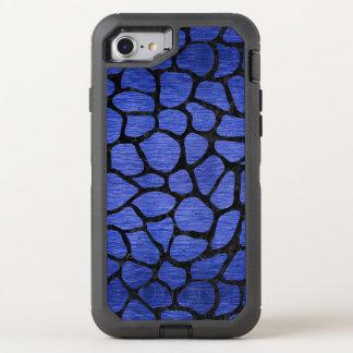SKIN1 BLACK MARBLE & BLUE BRUSHED METAL OtterBox DEFENDER iPhone 8/7 CASE