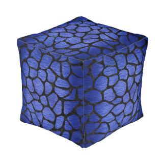 SKIN1 BLACK MARBLE & BLUE BRUSHED METAL POUF