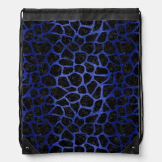 SKIN1 BLACK MARBLE & BLUE BRUSHED METAL (R) DRAWSTRING BAG