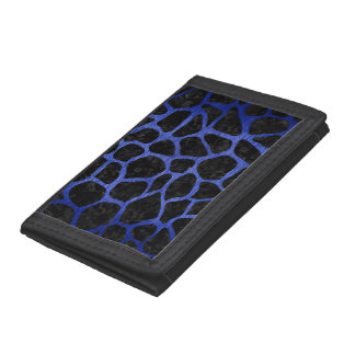 SKIN1 BLACK MARBLE & BLUE BRUSHED METAL (R) TRI-FOLD WALLET