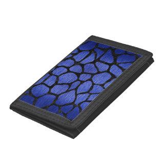 SKIN1 BLACK MARBLE & BLUE BRUSHED METAL TRIFOLD WALLET