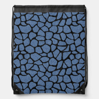 SKIN1 BLACK MARBLE & BLUE DENIM DRAWSTRING BAG