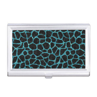 SKIN1 BLACK MARBLE & BLUE-GREEN WATER (R) BUSINESS CARD HOLDER