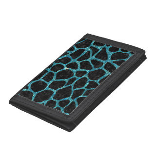 SKIN1 BLACK MARBLE & BLUE-GREEN WATER (R) TRIFOLD WALLET