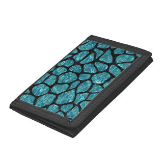 SKIN1 BLACK MARBLE & BLUE-GREEN WATER TRIFOLD WALLET