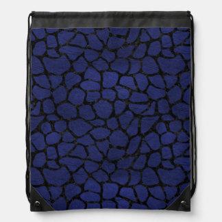 SKIN1 BLACK MARBLE & BLUE LEATHER DRAWSTRING BAG