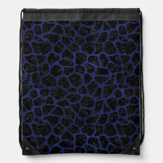 SKIN1 BLACK MARBLE & BLUE LEATHER (R) DRAWSTRING BAG