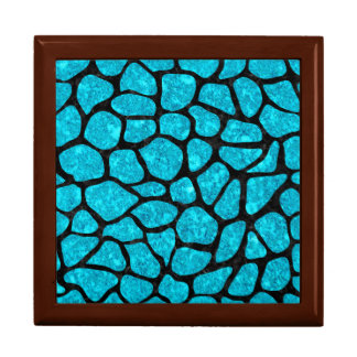 SKIN1 BLACK MARBLE & TURQUOISE MARBLE LARGE SQUARE GIFT BOX