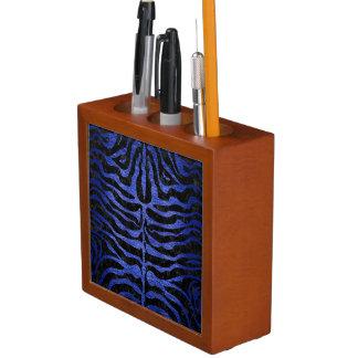 SKIN2 BLACK MARBLE & BLUE BRUSHED METAL DESK ORGANISER