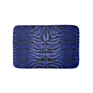 SKIN2 BLACK MARBLE & BLUE BRUSHED METAL (R) BATH MAT