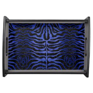 SKIN2 BLACK MARBLE & BLUE BRUSHED METAL SERVING TRAY