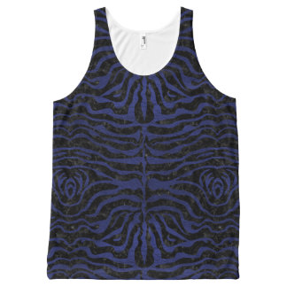 SKIN2 BLACK MARBLE & BLUE LEATHER All-Over PRINT SINGLET