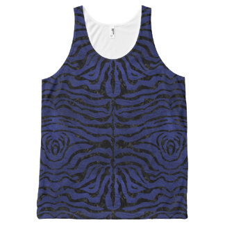 SKIN2 BLACK MARBLE & BLUE LEATHER (R) All-Over PRINT SINGLET