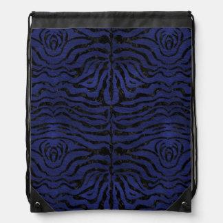 SKIN2 BLACK MARBLE & BLUE LEATHER (R) DRAWSTRING BAG