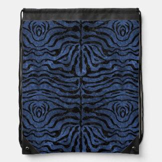 SKIN2 BLACK MARBLE & BLUE STONE (R) DRAWSTRING BAG