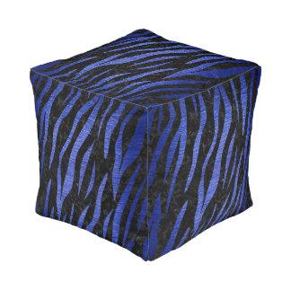 SKIN3 BLACK MARBLE & BLUE BRUSHED METAL POUF
