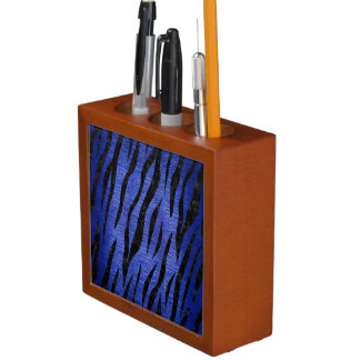 SKIN3 BLACK MARBLE & BLUE BRUSHED METAL (R) DESK ORGANISER