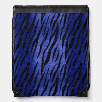 SKIN3 BLACK MARBLE & BLUE BRUSHED METAL (R) DRAWSTRING BAG