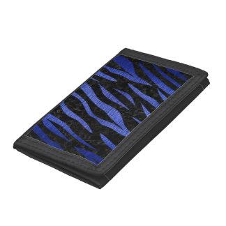 SKIN3 BLACK MARBLE & BLUE BRUSHED METAL TRIFOLD WALLET