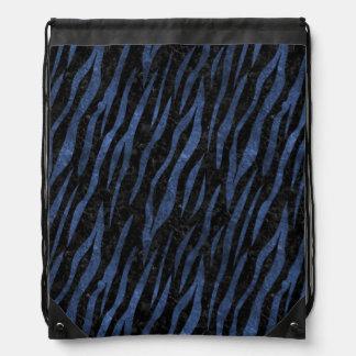 SKIN3 BLACK MARBLE & BLUE LEATHER DRAWSTRING BAG