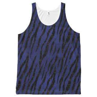 SKIN3 BLACK MARBLE & BLUE LEATHER (R) All-Over PRINT SINGLET