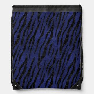 SKIN3 BLACK MARBLE & BLUE LEATHER (R) DRAWSTRING BAG