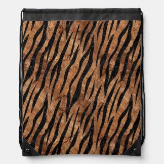 SKIN3 BLACK MARBLE & BROWN STONE (R) DRAWSTRING BAG