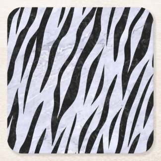 SKIN3 BLACK MARBLE & WHITE MARBLE (R) SQUARE PAPER COASTER